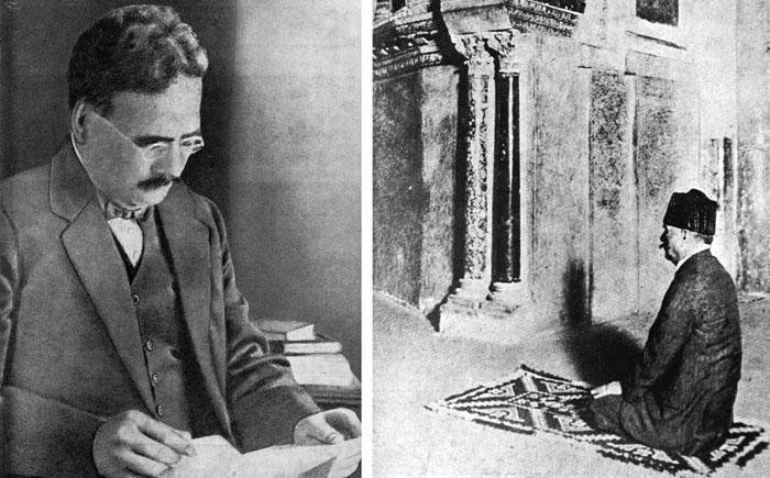 Mohammed Iqbal dans sa bibliothèque (à g.) et à la mosquée de Cordoue, en Espagne, en 1933 (à dr.). (Photos : © Iqbal Academy)