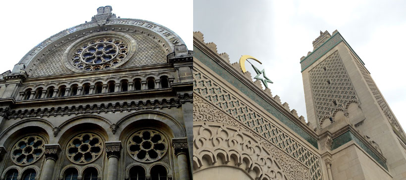 En France, les conversions annuelles au judaïsme et à l'islam sont estimées respectivement à 400 et à 4 000. Ici, la grande synagogue de Paris (à g.) et la grande mosquée de Paris.