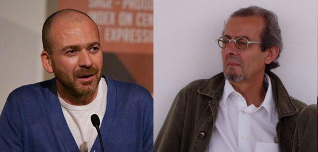 Sami Ben Gharbia (à g.), cyberactiviste, fondateur du blog d'opposition tunisien participatif Nawaat et directeur de plaidoyer à Global Voices, et Yves Gonzalez-Quijano (à dr.), maître de conférence en littérature arabe à l'Université de Lyon II et chercheur à l'Institut français du Proche-Orient, sont les deux intervenants à la conférence sur le cyberactivisme du monde arabe, organisée à l'initiative du Mouton Numérique, samedi 16 décembre, à l'Institut du monde arabe.
