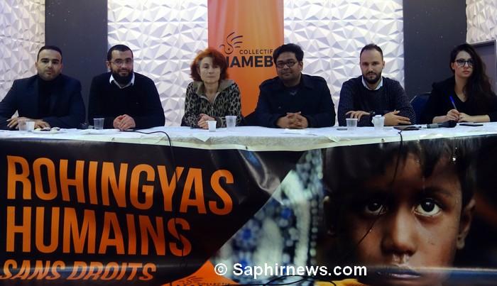 Le collectif Halte au massacre en Birmanie (HAMEB) organise des rencontres régulières en France pour sensibiliser l'opinion publique à la cause des Rohingyas, ici, le 28 janvier à Marseille. Aux côtés de Sakina Kechirat et Nordine Errais de HAMEB, Haroon Yusuf, réfugié rohingya en France, la représentante du bouddhisme Cécile, l'imam Ismail Abou Ibrahim et l'écrivain et professeur Abderrahim Bouzelmate (de dr. à g.).