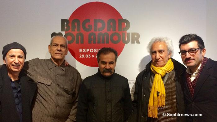 « Bagdad mon amour » est présenté à l'Institut des cultures d'islam, du 29 mars au 29 juillet. (de g. à dr.) Ici, les artistes Walid Siti, Ali Assaf, Himat, Mehdi Moutashar et le commissaire d'exposition Morad Montazami.