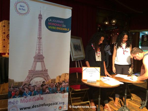 Lors de la campagne « Désir de paix » lancée par AISA, près de 100 000 signatures de soutien à la Journée internationale du vivre-ensemble ont été récoltées. Ici, lors d'un dîner de gala organisé par les Scouts musulmans de France (SMF), le 11 juin 2017.