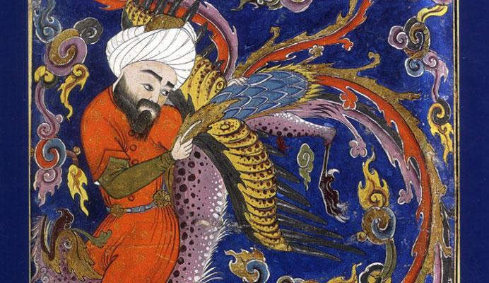 Le recueil de poèmes « Le Cantique des oiseaux », publié en 1177 par le poète persan Farid al-Din Attar (1142- m. entre 1190-1229), est certainement le texte le plus célèbre de la pensée soufie. (photo : Hippocrate porté au ciel par Sîmorgh © Topkapi Palace Museum Library)