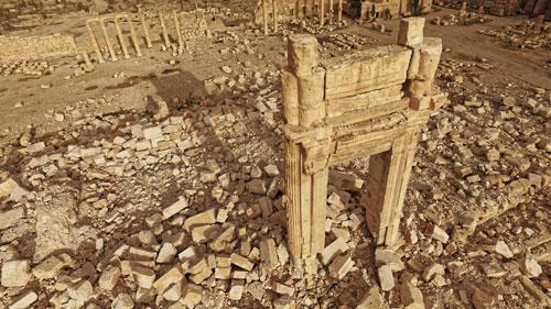 Le temple de Bêl, construit en 32, à Palmyre (Syrie), a été détruit par Daesh en août 2015. (Photo : ICONEM / DGAM)