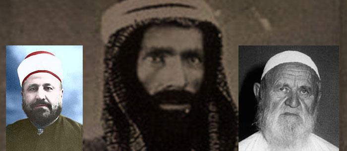 Au centre, Muhammad ben 'Abd al-Wahhāb (m. 1792), qui donne son nom à la doctrine du wahhabisme ; à gauche, Muhammad Rashid Rida (m. 1935) ; à droite, Muhammad Nasir-ud-Din al-Albani (m. 1999).