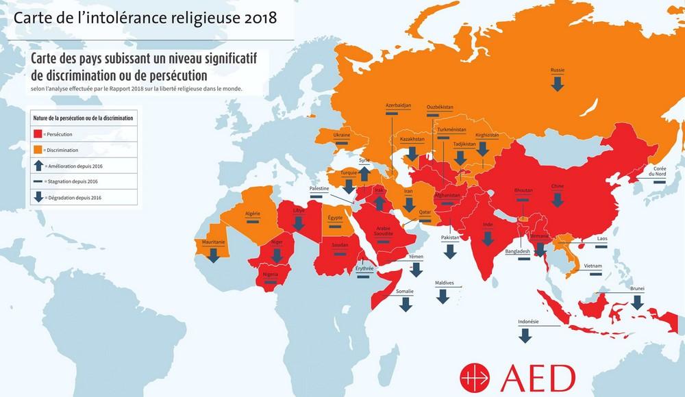 Carte de l'intolérance religieuse en 2018, par AED (cliquez dessus).