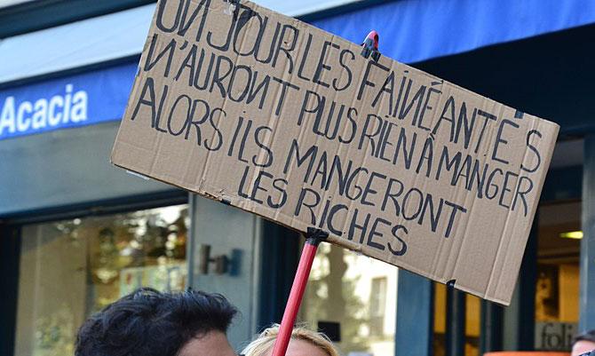 Manifestation, à Paris, le 23 septembre 2017, contre les réformes du travail du président Emmanuel Macron. (Photo © Jeanne Menjoulet)