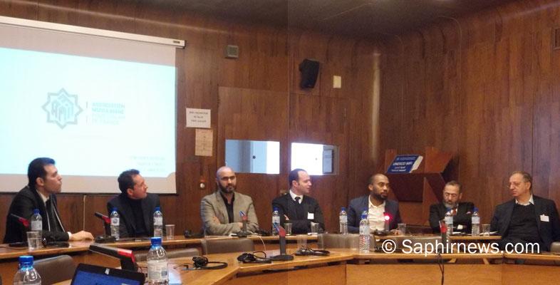 Un point sur l'avancement du projet AMIF a été fait lundi 21 janvier à l'UNESCO. Autour de l'essayiste Hakim El Karoui, on comptait des personnalités de la société civile et du monde religieux. De g. à dr. : Tarik Abou Nour, Hakim El Karoui, Abdelhaq Nabaoui, Mohamed Chirani, Mohamed Bajrafil, Tareq Oubrou et Sadek Beloucif.