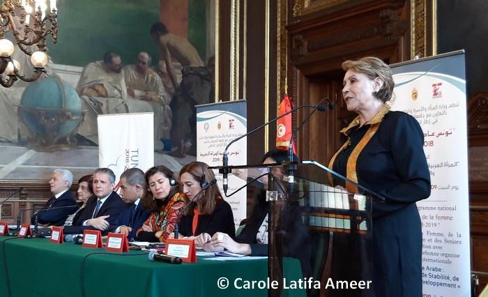 A l'initiative de Neziha Labidi, ministre tunisienne de la Femme et de la Famille, c'est à Paris, samedi 9 février, dans le prestigieux Grand Salon de la Sorbonne, qu'a eu lieu la dernière conférence de l'ambitieux programme organisé en 2018 par la Tunisie dans le cadre de la manifestation « Tunis, capitale de la Femme arabe 2018-2019 ». © Carole Latifa Ameer