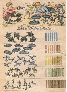 Illustration d'un livre scolaire nazi. L'apprentissage des lettres avec des termes et des illustrations purement guerriers était mis en avant dans les livres d'école, facilitant l'identification aux « Jeunesses Hitlériennes » et leur incorporation.