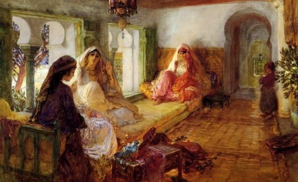 « Harem », une peinture à l'huile datée de 1904 et signée d'Arthur Frederick Bridgman.