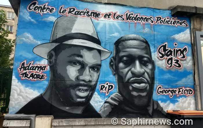 A Stains, une fresque en hommage à Adama Traoré, à Georges Floyd et aux victimes de violences policières