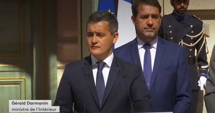 Gérard Darmanin a pris ses fonctions de ministre de l'Intérieur mardi 7 juillet, succédant ainsi à Christophe Castaner Place Beauvau. © Capture d'écran / France Info