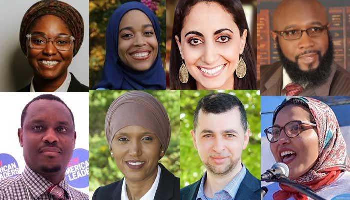 Sur les 57 élus identifiés comme musulmans en 2020, huit font une entrée historique dans la représentation politique américaine à leur échelle : Mauree Turner, Madinah Wilson-Anton, Iman Jodeh, Christopher Benjamin, Samba Baldeh, Nafisa Fai, Fady Qaddoura, Nida Allam. © Montage Saphirnews.com / DR