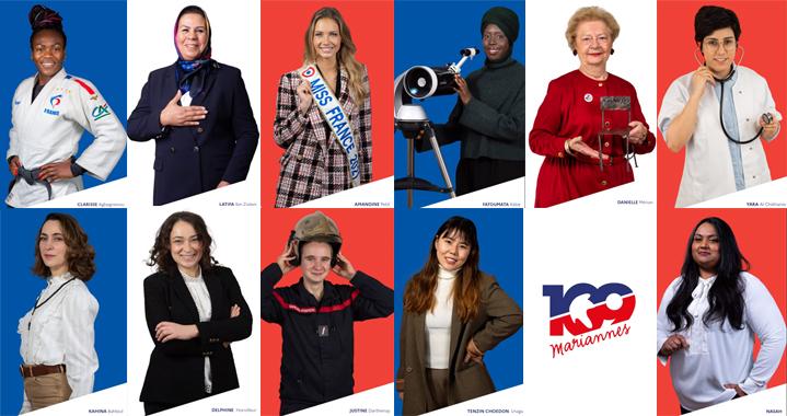 Elles sont 109 femmes représentant la France et sa diversité à figurer au cœur d'une exposition inaugurée jeudi 4 sur le parvis du Panthéon, à Paris, par Marlène Schiappa. © « 109 Mariannes » / Photomontage Saphirnews.com