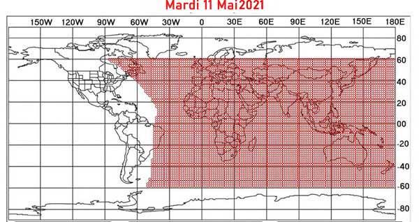 La carte de visibilité du croissant lunaire en date du mardi 11 mai 2021 afin de déterminer la fin du mois du Ramadan et, de ce fait, le début du mois de Chawwal 1442/2021. © ICOP