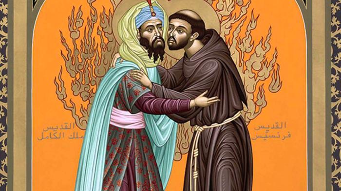 La rencontre entre François d'Assise et le sultan Al-Kamil en 1219 illustrée.