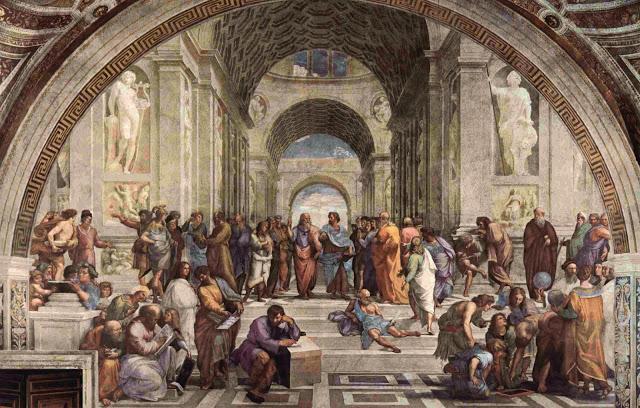 L'Ecole d'Athènes - les disciples de Socrate, fresque de Raphaël (1509-1510).