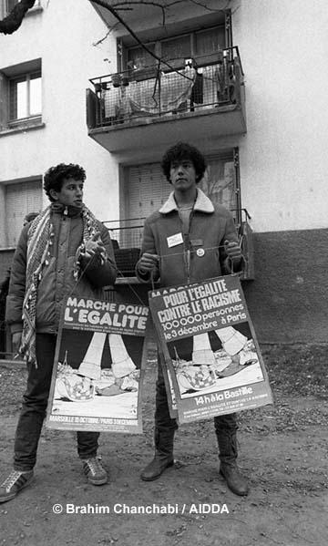 Les marcheurs Farouk Sekkai et Djamel Attallah, en 1983.