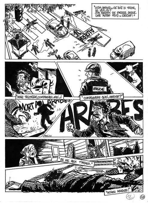 Halim Mahmoudi, Un monde libre, Des ronds dans l'O, planche 10, 2013 (date de première parution). Crayon, feutre et encre sur papier. (Musée de l'histoire et des cultures de l'immigration.)