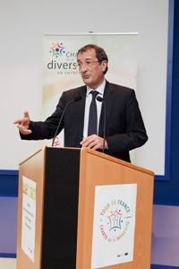 Le ministre délégué à la Ville, François Lamy lors de la présentation du BIlan Diversité 2013, jeudi 12 décembre.