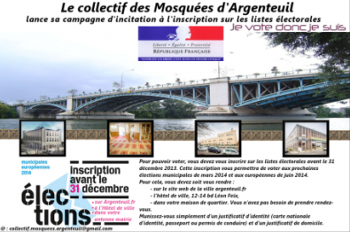 Tract du collectif des mosquées d'Argenteuil (Val d'Oise)