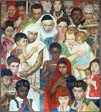 « La règle d'or ». La mosaïque est inspirée de la peinture de l'artiste américain Norman Rockwell, intitulée La Règle d'or. Rockwell voulait illustrer comment la Règle d'or est un thème commun dans la majorité des religions à travers le monde. Elle représente des gens de toutes races, convictions et couleurs avec dignité et respect. La mosaïque porte une inscription signifiant : « Comporte-toi avec les autres comme tu voudrais qu'ils le fassent avec toi. » (Photo ONU/Milton Grant)