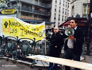 Au rassemblement du collectif Abrogation des Lois Islamophobes, à Couronnes.