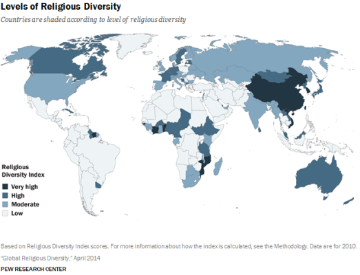 La carte de la diversité religieuse de Pew Research.