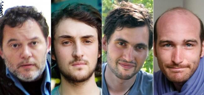 Didier François, Edouard Elias, Nicolas Hénin et Pierre Torres, enlevés en Syrie et retrouvés le 19 avril après dix mois de captivité.