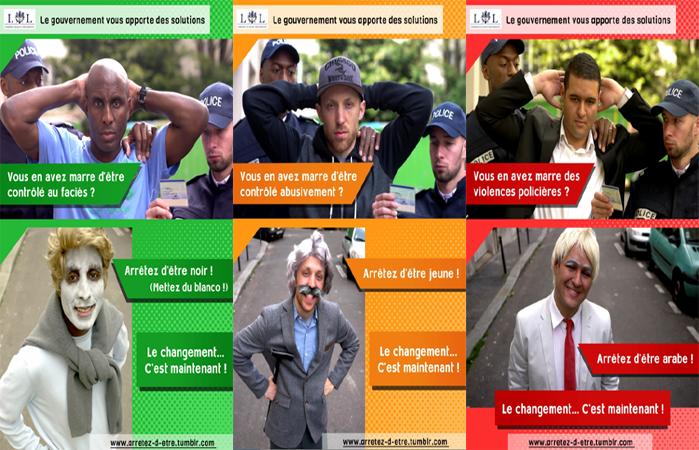 """Les trois premières affiches de la campagne """"Arrêtez d'être!"""" contre les discriminations."""