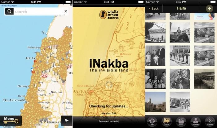 L'application mobile iNakba a été lancée le 5 mai 2014 pour marquer la création d'Israël, synonyme de catastrophe pour les Palestiniens.