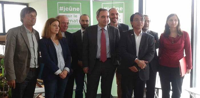 """Les participants au lancements du """"Jeûne pour le climat"""". De gauche à droite : N. Hulot, M. Créach, M. Stenger, N. Kazarian, F. Clavairoly, M. Kopp, Y. Saño, T. Oubrou, L. Morosini."""