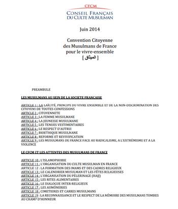 La « Convention Citoyenne des Musulmans de France pour le vivre-ensemble » du CFCM.