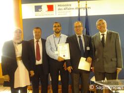 Les membres du bureau de la CHF. De gauche à droite : Safa Al Satari, la secrétaire générale adjointe, Abdelbasset Tahri, le président, El Houssine Marfouq et Salim Bouhidel, les deux vice-présidents et Azzedine Ainouche, le secrétaire général.