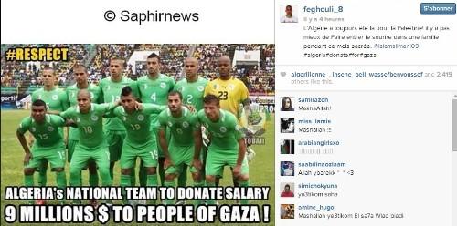 Capture d'écran du faux compte Instagram de Sofiane Feghouli.