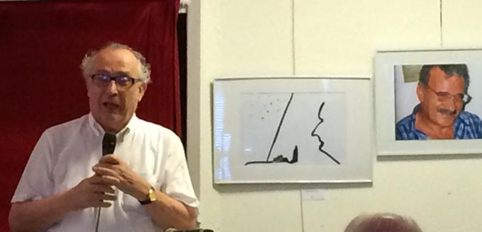 Le P. Régis Morelon, durant la soirée d'hommages rendus à Mahmoud Azab, le samedi 5 juillet 2014, à l'Espace Scribe-L'Harmattan (Paris), à laquelle une quarantaine d'amis, de proches et de collègues a assisté.
