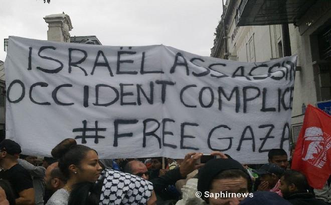 Une banderole de la manifestation du 13 juillet à Paris.