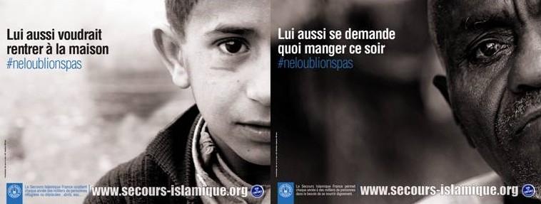 Les affiches du Secours islamiques France.