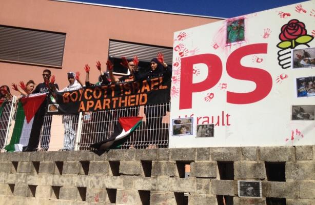Occupation du siège de la fédération de l'Hérault du PS par le collectif BDS le 30 juillet.