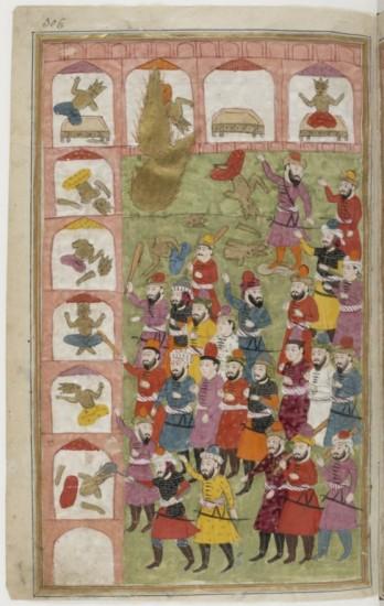 Le Prophète Muhammad, sous la forme d'un nimbe dorée (en haut à gauche de l'image), détruit les idoles de la Kaaba. Miniature du Cachemire, XIXe siècle (Paris, BnF, Manuscrits orientaux, Supplément persan 1030, fol. 306).