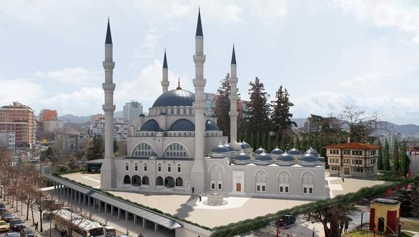 La future grande mosquée de Tirana, en Albanie.