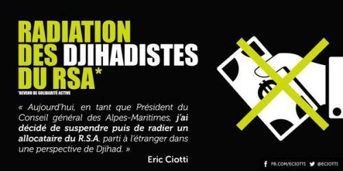 Un allocataire du RSA parti en Syrie radié par Eric Ciotti