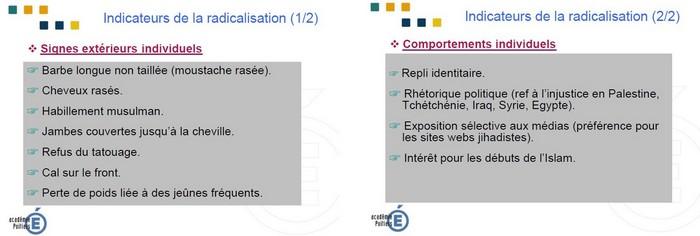 """Des extraits du document du rectorat de Poitiers pour """"prévenir la radicalisation en milieu scolaire""""."""
