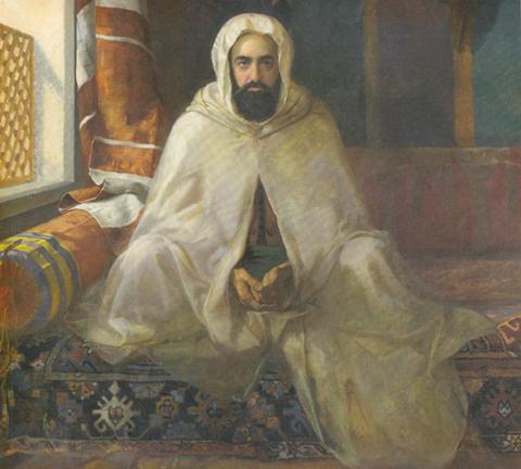 L'émir Abdelkader (Abd el-Kader ben Muhieddine, né en Algérie en 1808 et mort en Syrie en 1883) est à la fois homme politique, chef militaire et théologien. Il est considéré comme une figure historique ayant combattu la colonisation française. Constitué prisonnier en France de 1847 à 1852, il a cependant été fait ensuite grand-croix de la Légion d'honneur pour avoir accordé sa protection aux chrétiens de Syrie en 1860.