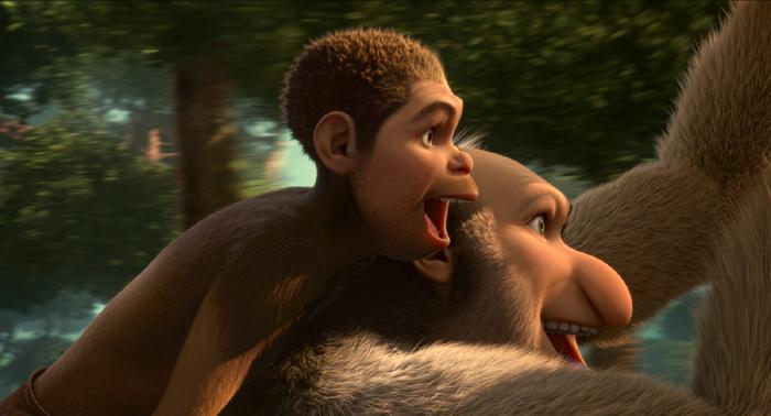 Edouard (Jamel Debbouze) et Ian (Arié Elmaleh) en australopithèques déjantés dans « Pourquoi j'ai pas mangé mon père », en salles le 8 avril 2015. (© Pathé Distribution)