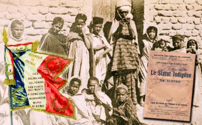 Adopté en 1881, le Code de l'indigénat a été imposé par la France en 1887 à l'ensemble de ses colonies. Il distinguait les « citoyens français » (de souche métropolitaine) et les « sujets français » (les colonisés). Les sujets français étaient privés de leur liberté (de circulation, de résidence, de travail…) et de leurs droits politiques, seul leur statut personnel (relevant de la religion ou des coutumes) était conservé. Aboli en 1946, il a continué à perdurer en Algérie presque jusqu'à son indépendance.