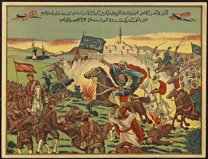 Abdelkrim rejetant les Espagnols, en 1921, bataille d'Anoual, lors de la guerre du Rif. (Archives nationales d'Outre-Mer)
