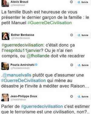 """Des tweets en réaction des propos de Valls sur la """"guerre de civilisation""""."""