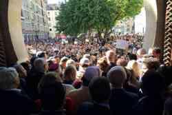Le rassemblement contre Daesh devant la Grande Mosquée de Paris en septembre 2014.